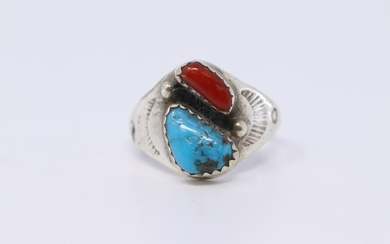 Navajo Mens Turquoise & Red Coral B L Ring.