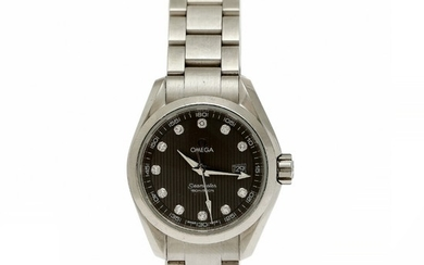 Omega: A lady's wristwatch of steel. Model Seamaster, ref. 23110306156001. Quartz movement with date.