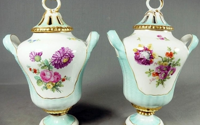 PAIR OF KPM FLORAL COVERED URNS