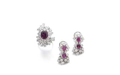 PAIR OF RUBY AND DIAMOND EARRINGS AND A RING