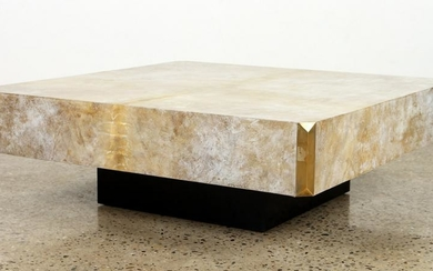 PARCHMENT COVERED COFFEE TABLE FLOATING BASE 1975