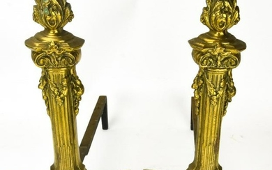 Pair Antique Neoclassical Style Brass Andirons
