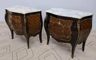 Pair French Style Bombay Commode Dresser Chests. Marble