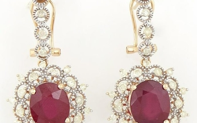 Pair of 14K Yellow Gold Pendant Earrings, with a