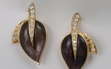 """Pair of 18 karat yellow gold """"Leaf"""" earrings set with mother-of-pearl and brilliant-cut diamonds for a total of +/-0.50 carat (Color:E-F-G; Purity: VVS-VS). Size: +/-2.8x1.6cm. Total weight: 11.2 gr."""