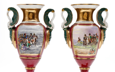 Pair of French Empire-style porcelain vases, early 20th Century.