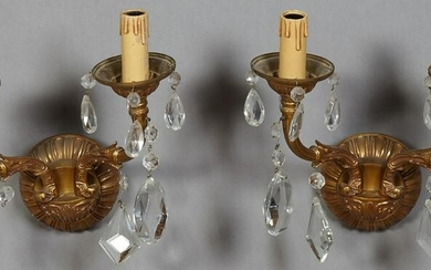 Pair of French Louis XV Style Brass Two Light Sconces
