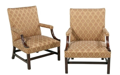Pair of George III-Style Gainsborough Chairs
