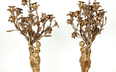 Pair of Louis XVI Style Gilt-Bronze and White Marble Figural Seven-Light Candelabra Lamps