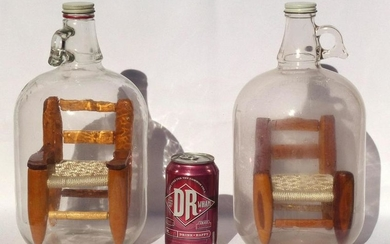 Pair of large bottle whimsies with chairs. Same maker
