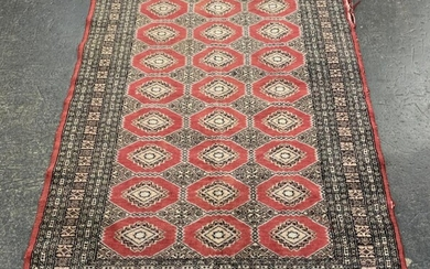 Red, Black and Cream Tone Carpet with Central Arabesques (L184 x W124cm) (AF - minor fraying)