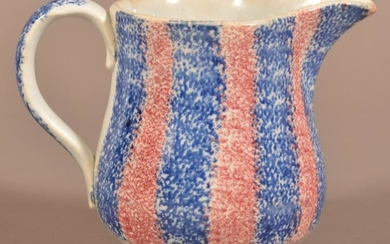 Red and Blue Rainbow Spatter China Cream Pitcher.