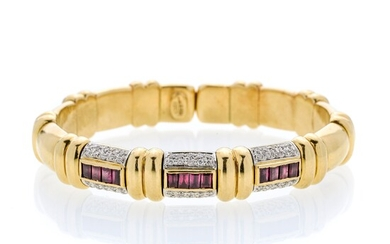 Rigid bracelet in yellow gold, white gold, diamonds and rubies