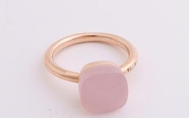 Rose gold ring, 585/000, with pink quartz. Bolle ring