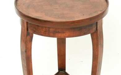 Round Low Side Table of Walnut Wood