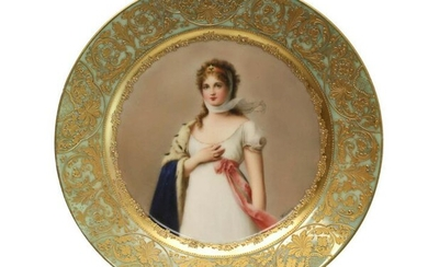 Royal Vienna Hand Painted Porcelain Cabinet Plate