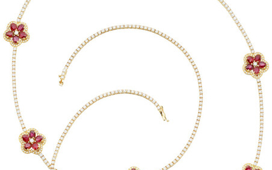 Ruby, Diamond, Gold Necklace The floral necklace features oval-shaped...