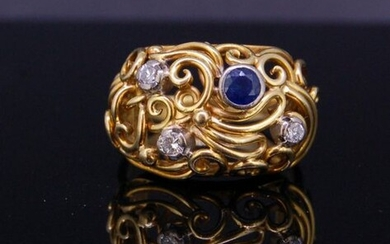 SAPPHIRE AND DIAMOND OPENWORK RING, set with a...