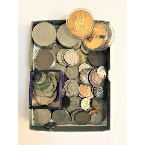 SELECTION OF SILVER AND OTHER BRITISH AND WORLD COINS includ...