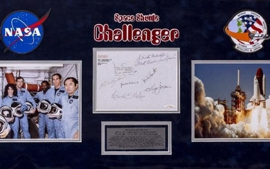 SIGNED CREW AUTOGRAPHS OF SPACE SHUTTLE CHALLENGER Francis Scobee,...