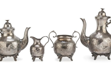 SILVER-PLATED TEA SERVICE PUNCH SHEFFIELD 19TH CENTURY