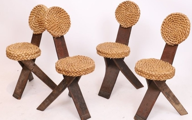 SUITE OF 4 WOODEN AND RATTAN CHAIRS