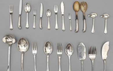 Silver cutlery set consisting of 40 large and 16 small forks 16 large and 16 small knives 12 oyster forks 16 large and 16 dessert spoons 16 fish forks and 16 fish knives and a pair of fish serving cutlery 1 ladle 2 large spoons 1 scoop two salad...