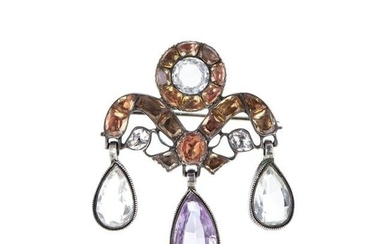 Silver pin with topaz and quartz