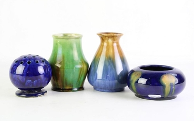 Small Collection of Australian Studio Pottery Incl. McHugh Tasmania Vase (H13cm), Bowl (Dia13cm), Frog (H9cm), all signed to base, a...