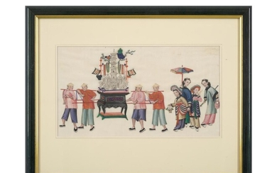 TWO CHINESE EXPORT PAINTINGS ON PITH PAPER QING DYNASTY (1644-1912), CIRCA EARLY 19TH CENTURY