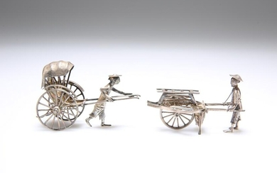 TWO CHINESE SILVER RICKSHAW MODELS, the first by