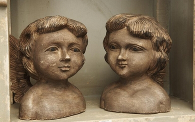 TWO VINTAGE FLORENTINE CARVED WOODEN CHERUB BUSTS, 21 CM HIGH, LEONARD JOEL LOCAL DELIVERY SIZE: SMALL
