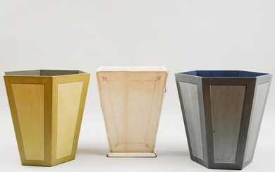 Three Painted Waste Paper Baskets