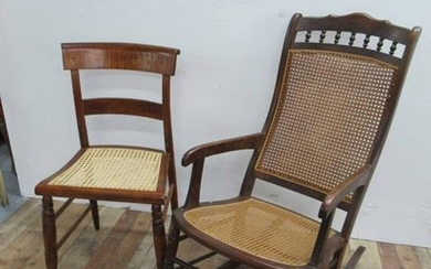 Tiger Maple Caned Seat Side Chair