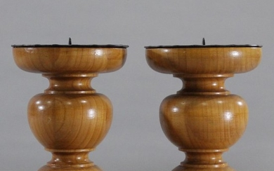Two [2] Polished Wood Candle Holder Stands