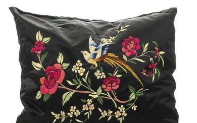 Two Chinese Embroidered Silk Pillows