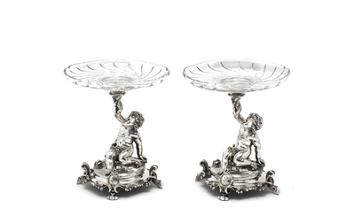 Two French silver-plated tazzas