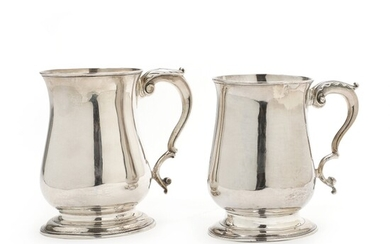NOT SOLD. Two George II and George III sterling silver mugs. Maker William Shaw &...
