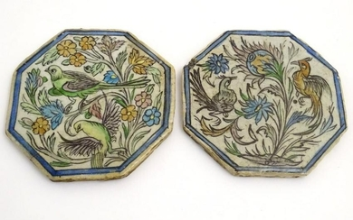 Two Persian tiles of octagonal form decorated with