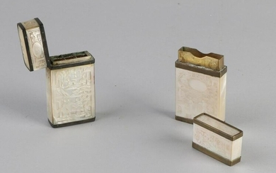 Two antique Chinese brass holders with mother of pearl