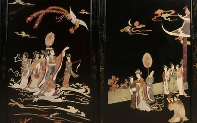 Two large Japanese / Chinese lacquer panels with geisha