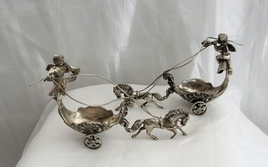 Two maxi miniatures of angel carriages - .915 silver - Spain - Mid 20th century