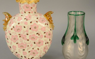 Two vases to include opaque white glass vase having
