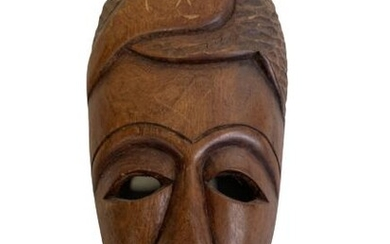 VINTAGE AFRICAN STYLE CARVED WOOD TRIBAL MASK 12""