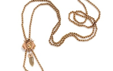 Victorian, Yellow Gold Longchain and Slide Necklace