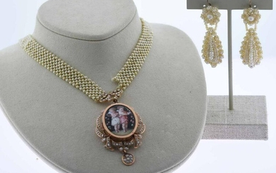 Victorian Seed Pearl Earrings and Locket