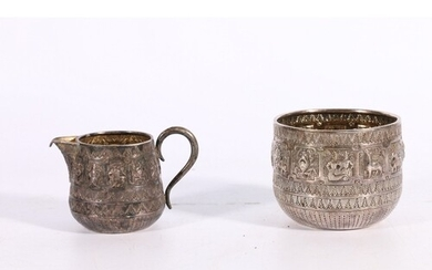 Victorian silver sugar bowl and cream jug decorated with sig...