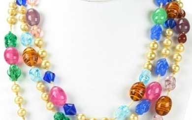 Vintage Hand Knotted Art Glass Faux Pearl Necklace