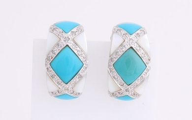 White gold earrings, 585/000, with turquoise and pearl.
