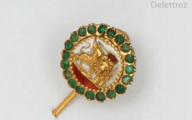 Yellow gold tie pin decorated with an enamelled...